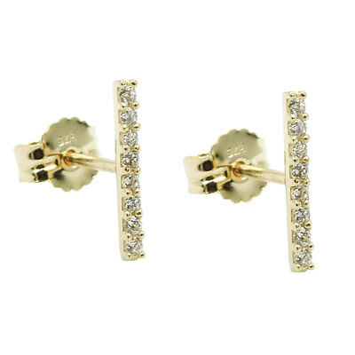 Studs 9x1mm Earrings, Rods with 8 White Zirconia 375 Gold Yellow Gold