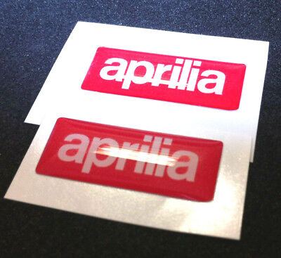 2 Adesivi Resinati Sticker 3D APRILIA White & Red big