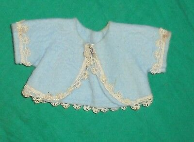 "1940S 1950S VINTAGE  DOLL CLOTHES Little Blue Felt Top Shirt 6"" Chest"