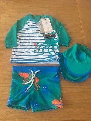 Rrp £20 Bnwt Marks And Spencers 3 Piece Uv Suit 12-18 Months