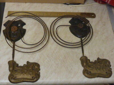 """2 Large """"swa"""" Antique-Old Clock Gongs & Stands"""
