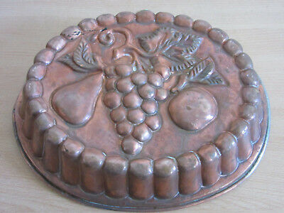 """Antique large 13.75"""" Copper / tin jelly / cake mold, 3 fruit, Grape pear apple"""
