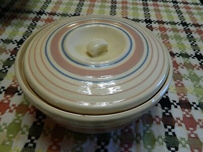 """Vintage McCoy Blue Pink Striped Covered Dish ribbed 8"""" across"""