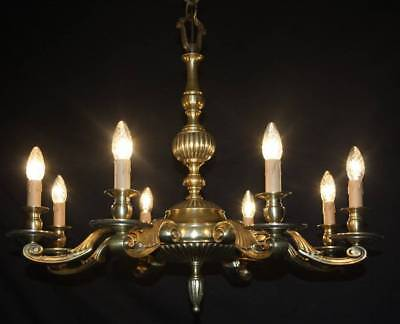 Vintage French Chandelier  Heavy Brass  8 Arm Ceiling Light (Ja26)