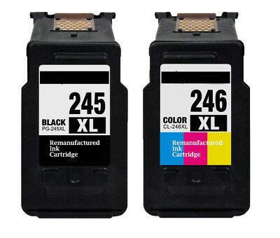 2PK Canon PG245XL Black/CL246XL Tri-Color Remanufactured Ink Cartridges