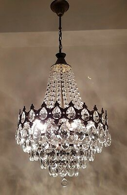 Antique Vintage French Basket Style Brass & Crystals LARGE Chandelier Lighting