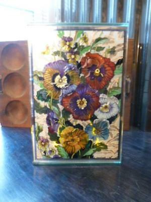 Amia Stained Glass Look Hand Painted Flowers Pansies Sun Catcher