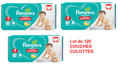 Pampers Baby Dry Pants-Couches Culottes Taille 4 (9-15)Kg Lot de 120 Couches New