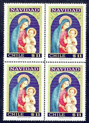 Chile 1978 Stamp # 939 Mnh Block Of Four Christmas 78'