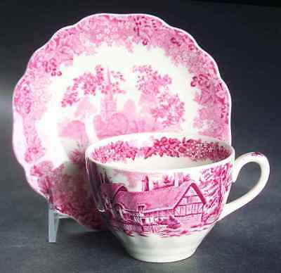J & G Meakin ROMANTIC ENGLAND RED Cup & Saucer 6716748