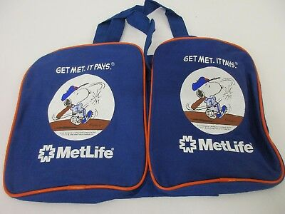 SNOOPY NEW YORK Mets Baseball Bag Promo MetLife Tote Canvas Peanuts ... 08a86c9531a15