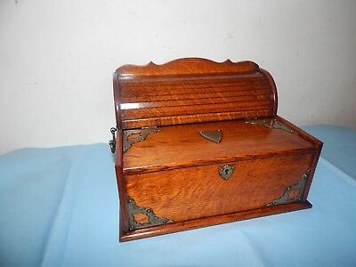 Antique Oak & Brass Stationary Box,Chest.