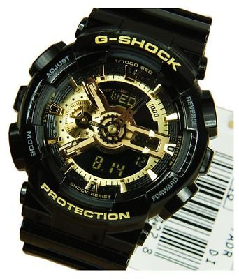 New Casio G Shock G-Shock Ga 110 Gb 1A Black / Gold Xl Dial Resin Band Watch