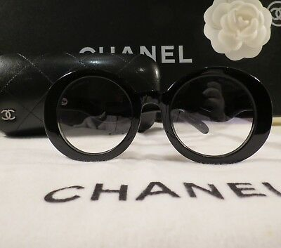 Very Rare Authentic Vintage Chanel Black Half Tinted Sunglasses S5018 Mint Cond!