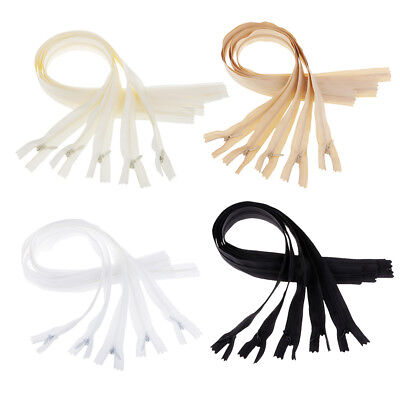 5Pcs Invisible Concealed Nylon Zips Zipper 50cm Black White Beige