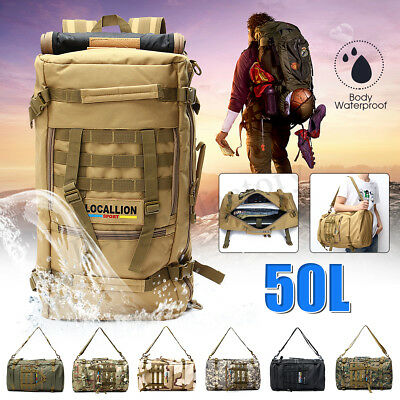 50L Waterproof Tactical Molle Rucksacks Backpack Travel Camping Shoulder Bag