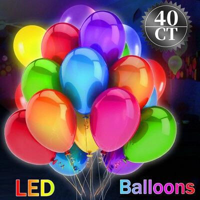 LED Light-Up Balloons 2019 Valentine's Day Party Lights Birthday 40ct WB44833