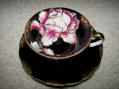 Royal Sealy China Japan Porcelain Black Gold Rim Hand Painted Tea Cup And Saucer