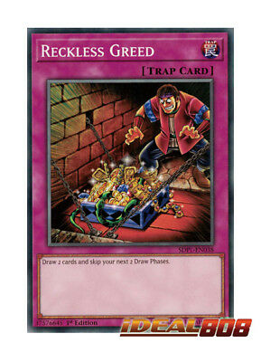 YUGIOH x 3 Reckless Greed - SDPL-EN038 - Common - 1st Edition Near Mint