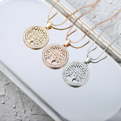 Tree Of Life Crystal Round Pendant Necklace Jewelry For Women Valentine's Gift