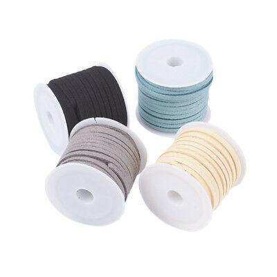 4 Rolls Faux Suede Lace Leather Cord 3mmx1.5mm, 5m/Roll