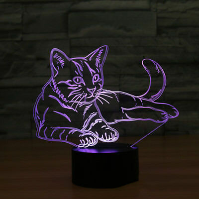 3D Cat Night Light Touch Switch Lámpara de escritorio 7Color que cambia el USB