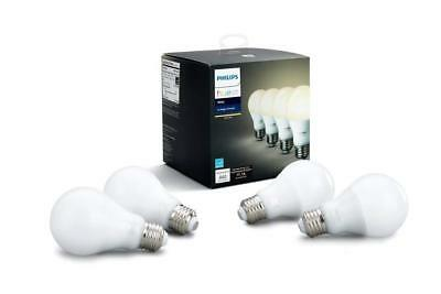 Philips - Hue White A19 Wi-Fi Smart LED Bulb (4-Pack) - White