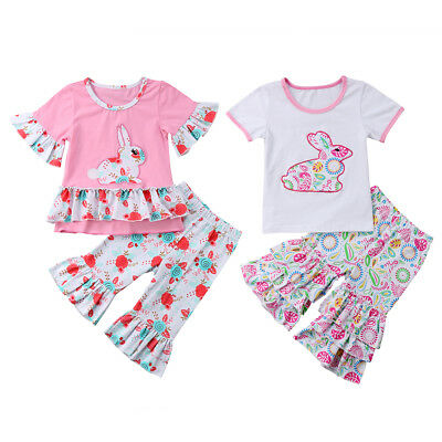 2PCS Toddler Kids Baby Girls Easter Rabbit T-shirt Tops+Pants Outfits Clothes UK