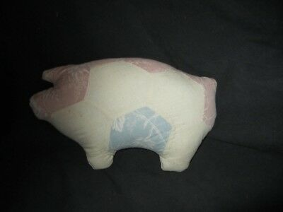 Primitive Pig Doll - Quilted -  white/pink/blue - 26