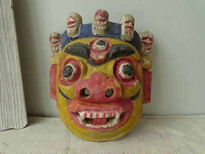T7970 Carved, Asiatic Mask Asian Wooden Mask Indonesia Carnival