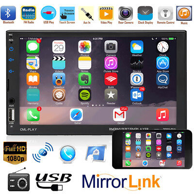 """7"""" HD LCD Touch Screen 2DIN Bluetooth Car Stereo MP5 FM Radio Player TF/AUX/USB"""
