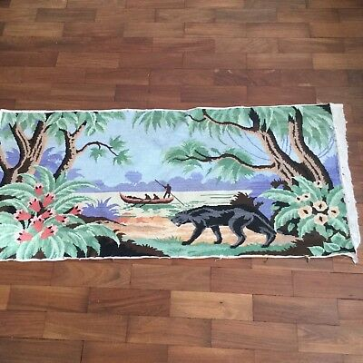 Completed vinfrench tapestry, black panther, tropical, floral, river, boating