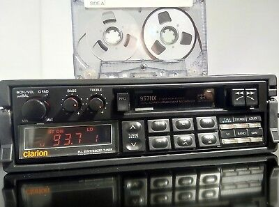 Vintage Car radio Clarion 957HX pull out, newtimer Nissan, Mazda RX5 RX7
