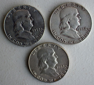 Lot of three1952 PDS Franklin Half Dollars US Coins Silver Average Circulated