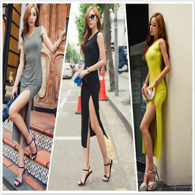 Women Summer Dress Slim Elastic Sleeveless High Slit Sexy Long Party Dress