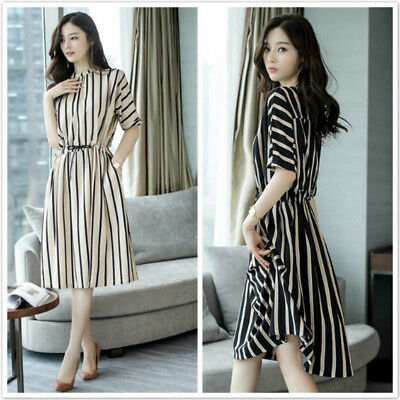 Women Casual Striped Loose Shirt Dress Elegant Half Sleeve O-Neck Midi Dress