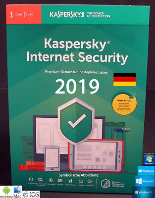 Kaspersky Internet Security 2019 Vollversion 1 Gerät PC/Mac/Android + Anleitung