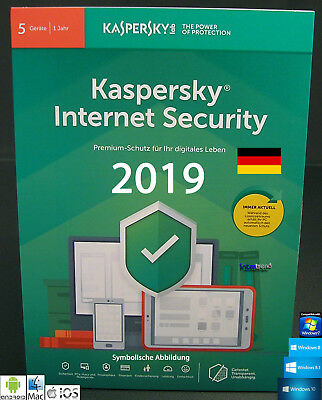 Kaspersky Internet Security 2019 Vollversion 5 Geräte PC/Mac/Android + Anleitung