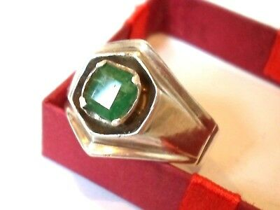 Unique Gifts.silver Ring W/ Real Emerald For Your Boy Friend/husband/loved Ones