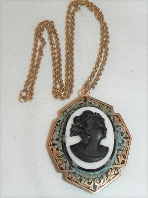 "Antique Victorian Carved Black Glass Cameo Hidden Locket 24"" Mourning Necklace"