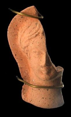 Rare Ancient  Etruscan C. 4th century B.C. Terracotta Votive Head Of A Woman