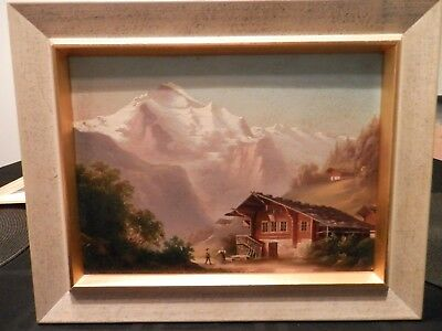 ANTIQUE old Fine Art OIL PAINTING original vintage Primitive Folk Artwork framed