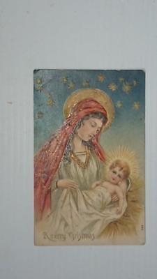 Old post card Postcard - Christmas Madonna with Child  Early 1900's