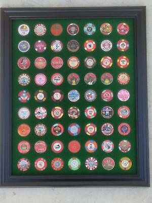 16x20 GREEN DISPLAY PICTURE FRAME FOR 63 CASINO POKER CHIPS (NOT INCLUDED)
