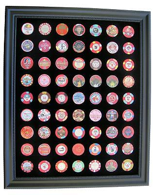 16x20 BLACK DISPLAY PICTURE FRAME FOR 63 CASINO POKER CHIPS (NOT INCLUDED)