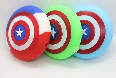 "3"" Captain America Silicon Hand Smoking Pipe Assorted Colors W/Glass Bowl"