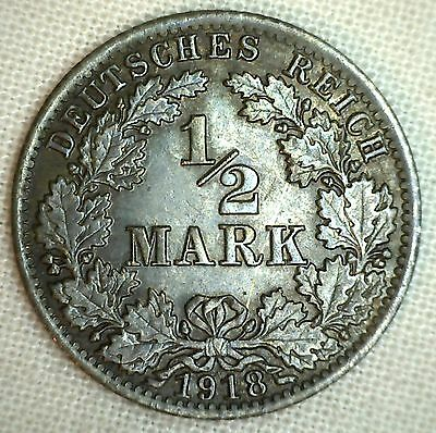 1918 A Germany-Empire 1/2 Mark KM#17 Silver World Coin #3 YG #P