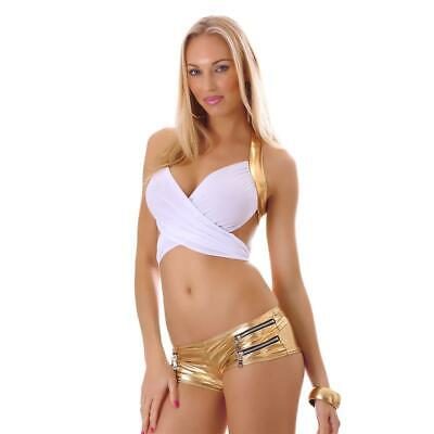 Sexy Wickel-Top Clubwear Gogo Weiss/Gold 34/36/38 #T1107
