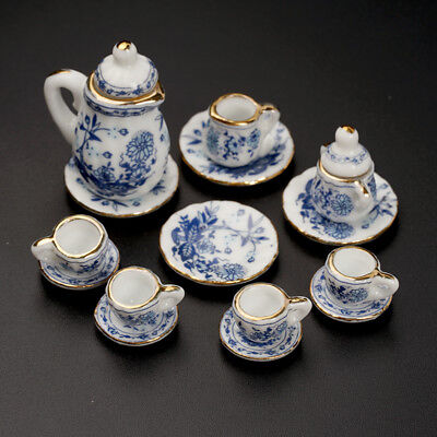 15X Dining Ware Ceramic Blue Flower Set for 1:12 Dollhouse Miniatures Decor