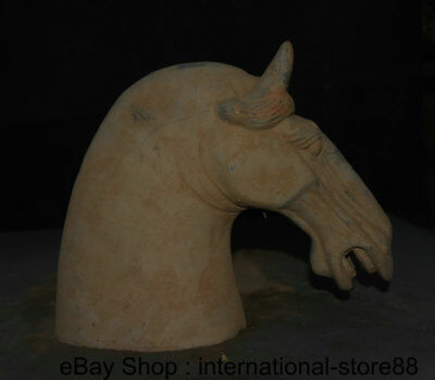 """11"""" Antique Chinese Ceramics Dynasty Palace Tang Horse Steed Head Sculpture"""